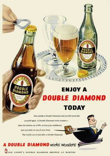 Vintage 1950s British Beer Advertisement Poster Double Diamond Retro Print