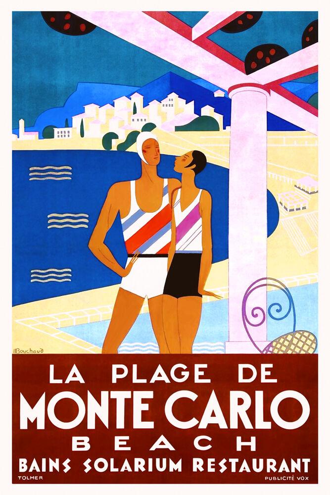 vintage art deco travel poster plage de monte carlo 1920s. Black Bedroom Furniture Sets. Home Design Ideas