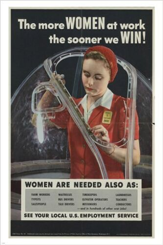 the more WOMEN AT WORK the SOONER WE WIN vintage poster HISTORIC 24X36 NEW