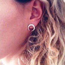 cresent Moon Geometric retro boho tribal punk Silver Colour stud earrings