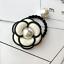 Women Camellia Flower Hair Rope Pearl Elastic Hairband Ponytail Holder Head Band