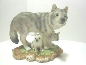 HOME-INTERIOR-MASTERPIECE-GREY-WOLVES-1995-Homco-Porcelain-Figurine
