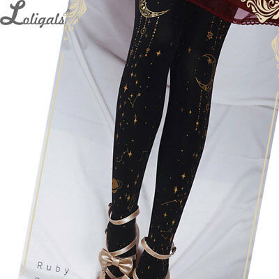 Gothic Black and Gold Pantyhose The Gate of Rolling Star Steampunk Lolita Tights