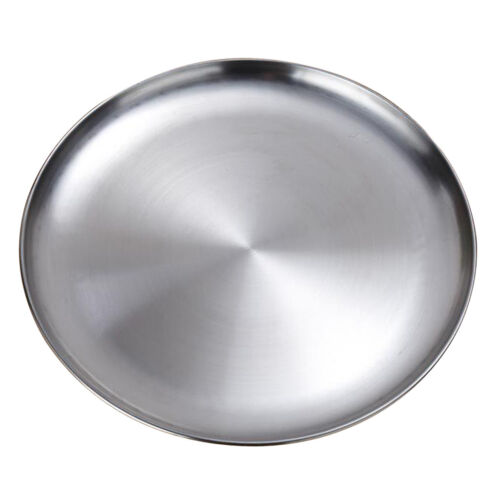 Silver Round Serving Tray Platter Home Table Metal Dinner Dish Plate 23cm