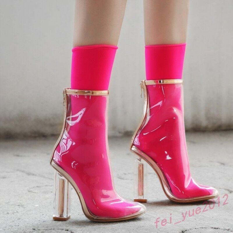 Women's Runway Candy colors Clear High Cuban Heels Zip Mid Calf Boot Rain shoes