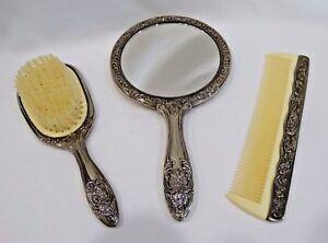 Vintage Silverplate Dresser Vanity Set Hand Mirror Brush Comb Set Ebay
