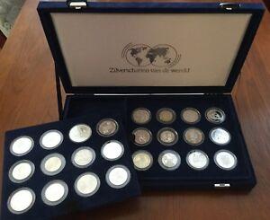 Collectie-24-ZILVEREN-munten-039-Zilverschatten-van-de-wereld-039-IN-BOX-COA