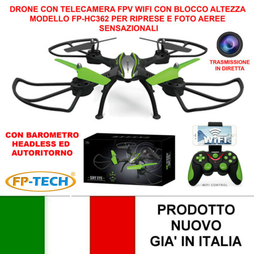 DRONE QUADRICOTTERO RADICOMANDATO WIFI 2,4Ghz CAMERA HD HC632 VIDEO FOTO USB LED Droni e modellismo dinamico