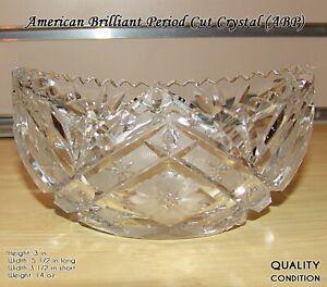 - American Brilliant Period Lead Crystal Bowl 8 14