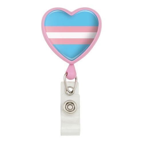 Transgender Trans Pride Drapeau cœur bleu cordon enrouleur Badge ID Card Holder