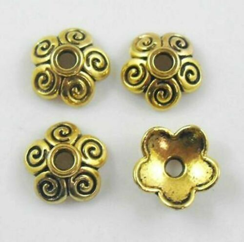 Tibetan Silver//Gold Flower Bead Caps Charms Crafts Jewelry Making Design 4*10mm