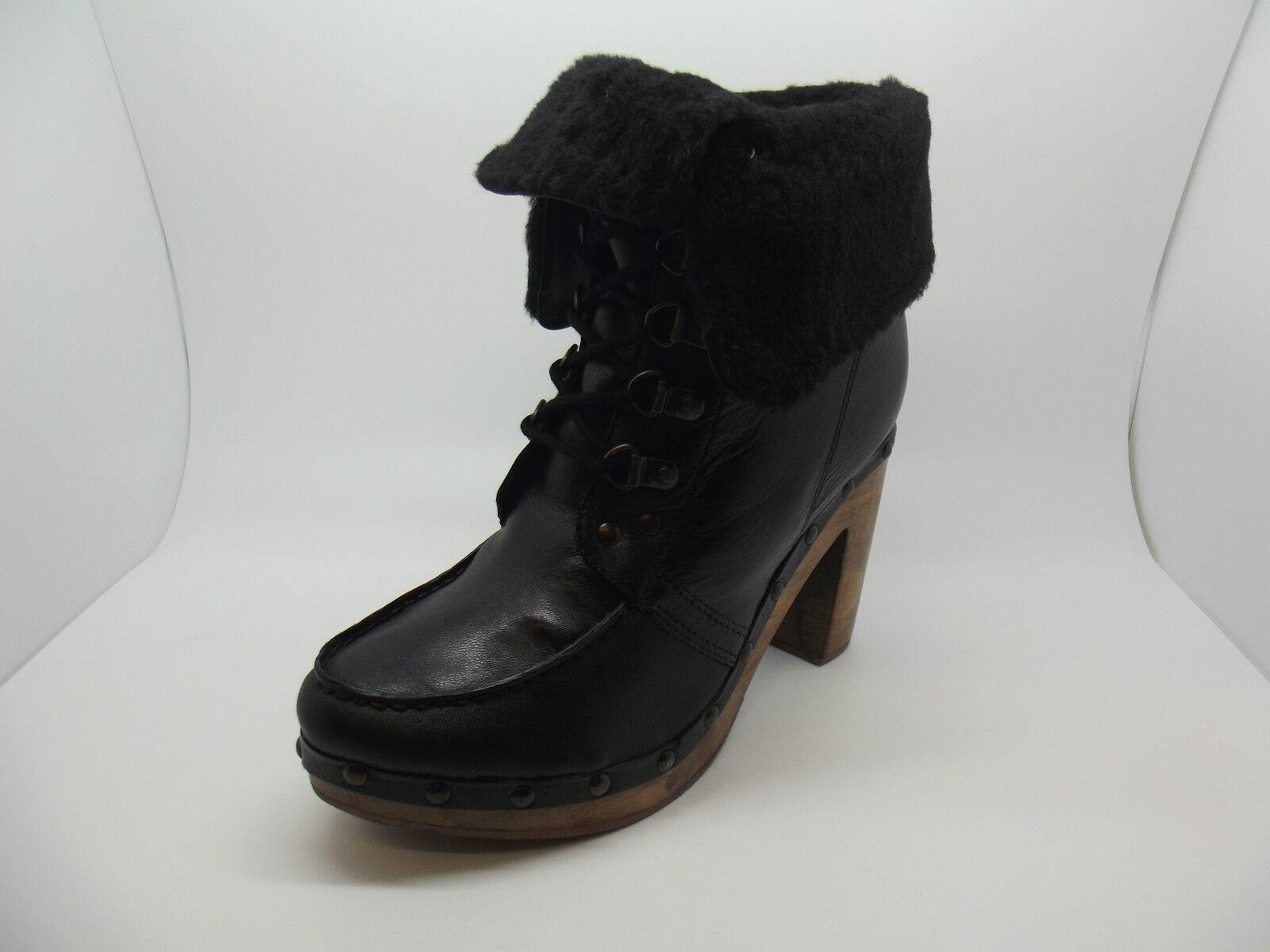 NEW LADIES GIRLS EX TOPSHOP ARELLA BLACK LEATHER FUR LINED ANKLE BOOTS HEELS 3-8