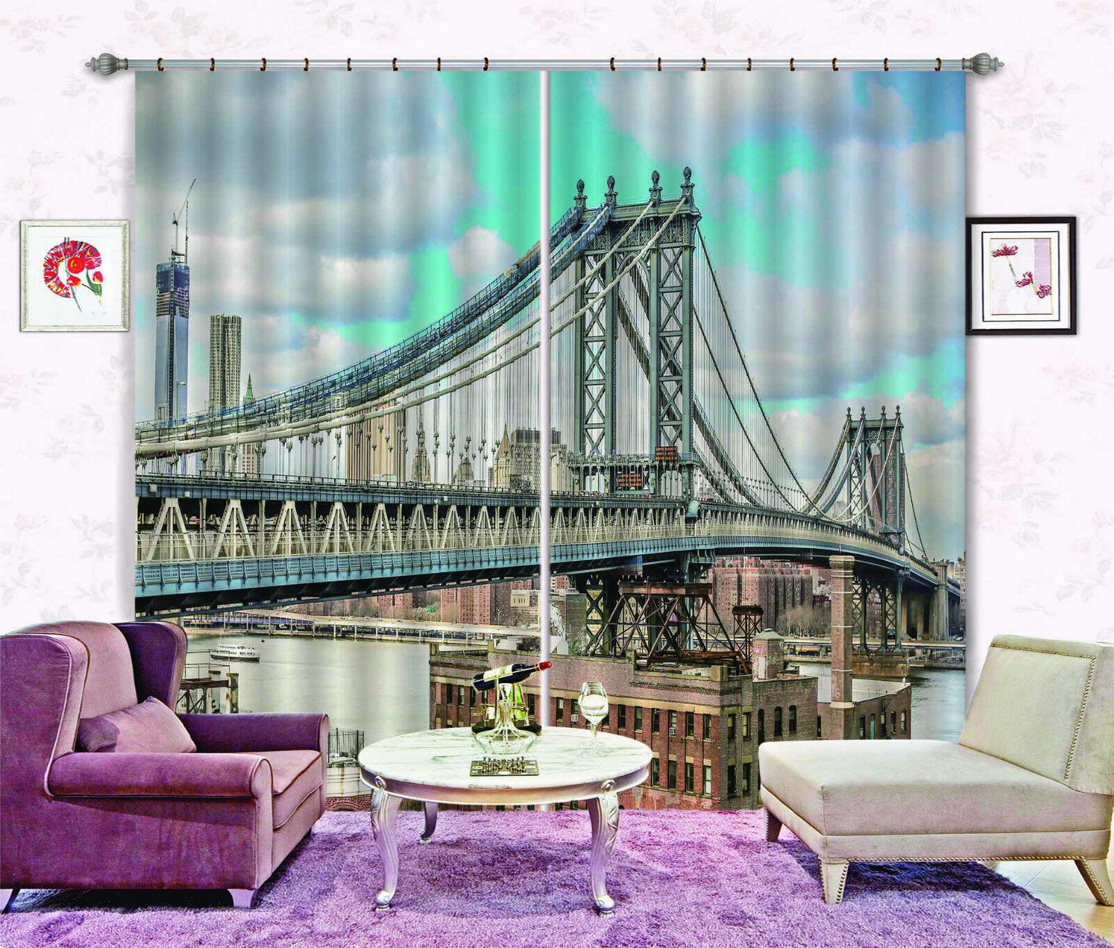 3D Nueva York 532 Cortinas de impresión de cortina de foto Blockout Tela Cortinas Ventana CA