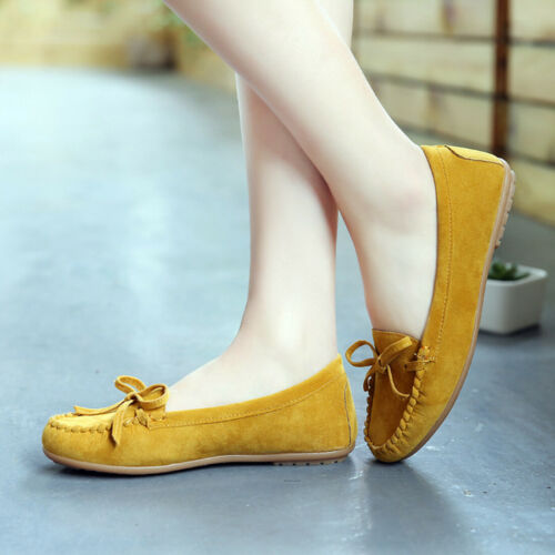 Womens Bow Tassel Suede Shallow Slip On Soft Flats Peas Shoes Moccasin Loafers B