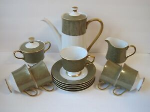 Sango-Versailles-3262-Vintage-1960-039-s-Green-Gold-Tea-Set-15-PC-New