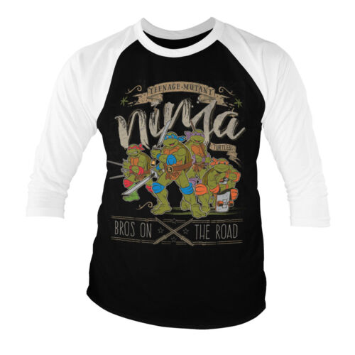 Officially Licensed TMNT Bros On The Road Baseball 3//4 Sleeve Tee