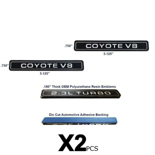 NEW Coyote V8 Interceptor Style Emblem Polyurethane Resin Emblems OE 2pc SET