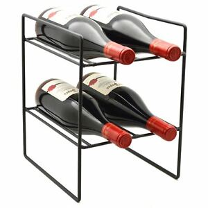 4 Bottle Compact Freestanding Black Metal Wine Rack Perfect For