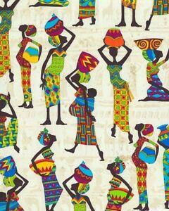Timeless-Treasures-Kenta-Tribal-Women-Lt-Sand-Cotton-Fabric-BTY