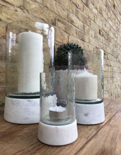 Hurricane Glass Pillar Candle Holder Modern Marble Centerpiece Decor Wedding