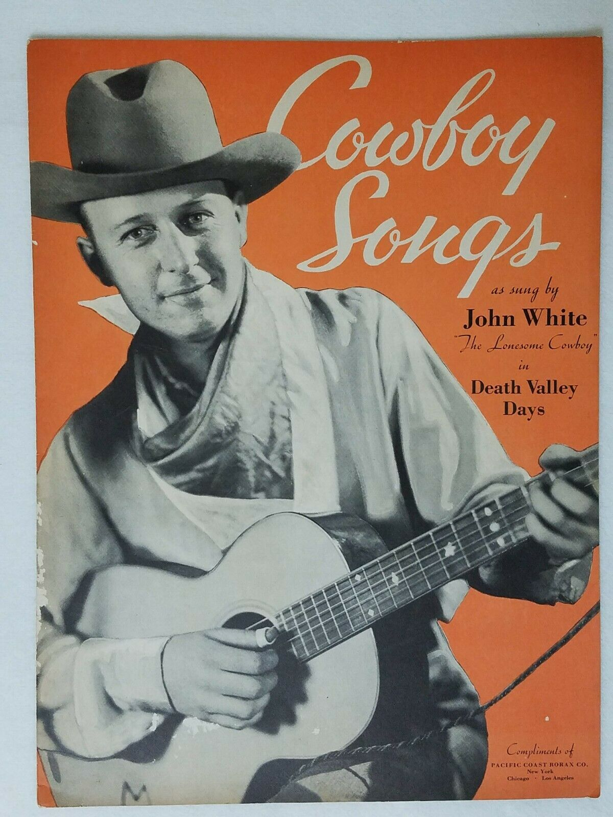 Image 1 - COWBOY SONGS JOHN WHITE Lonesome Cowboy Death Valley Days 6 Songs 1934 Song Book