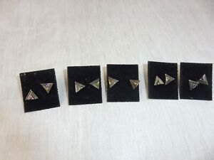 Lot-de-5-paires-de-boucles-d-039-oreilles-en-argent-forme-triangle-HH-vintage