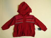 Baby Girls Hooded Knit Cardigan Classic Red Winter Theme Two Button Sweater