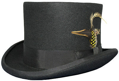 Unisex Adult Wedding Event Ascot 100% Wool Black Felt To Hat With Feather
