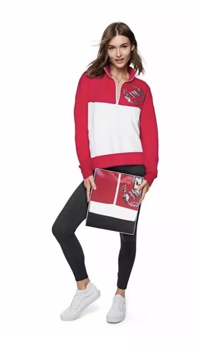 NWT Victoria's Secret PINK Bling University Quarter Zip Legging Gift Set Red M