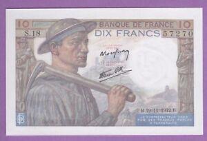 (ref: B.70) 10 Francs Mineur 19/11/1942. (neuf) 10 Billets NumÉros Suivis Hysipmwl-08001627-293968164