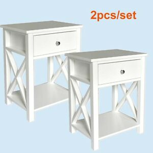 2pcs/set Nightstand Side Coffee End Table Bedside Drawer Stand Shelf Furniture