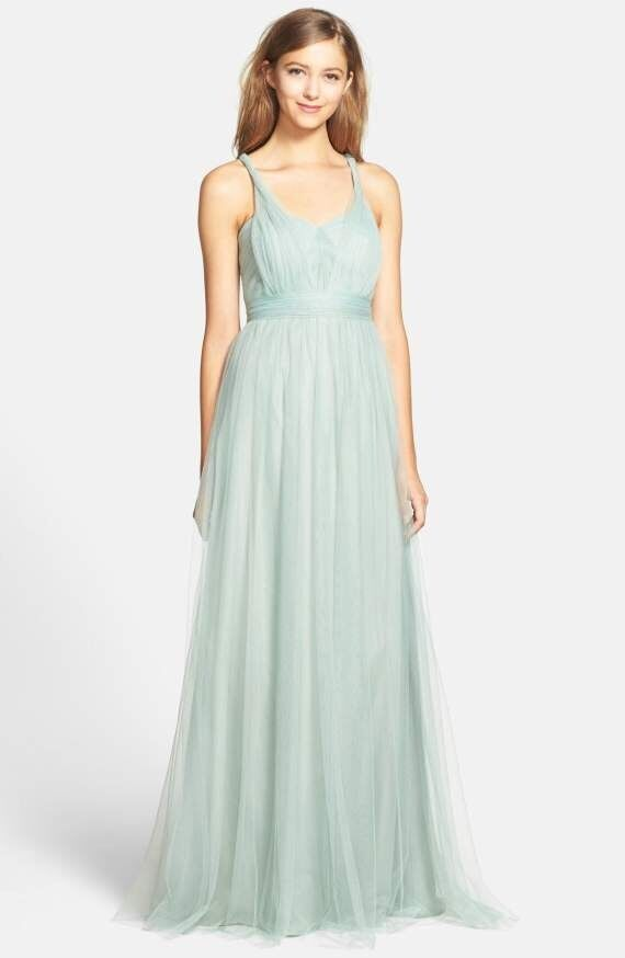Jenny Yoo  Annabelle  Congreenible Tulle Tulle Tulle Bridesmaids Gown, Sea Glass, Size 0 ef0769