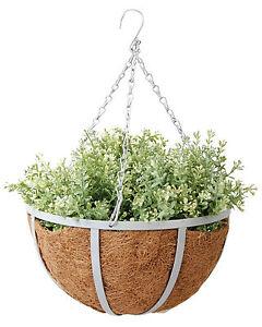 Blumenampel Hanging Basket Hängeampel 2er Set Hellgrau Mit Kette Und