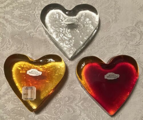 Blenko Handmade Glass Heart Paperweight #902