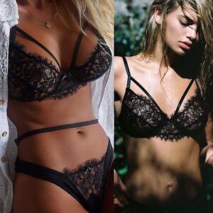 Women-Sexy-Lace-Babydoll-Underwear-Sleepwear-Nightwear-Bra-G-string-Briefs-Thong