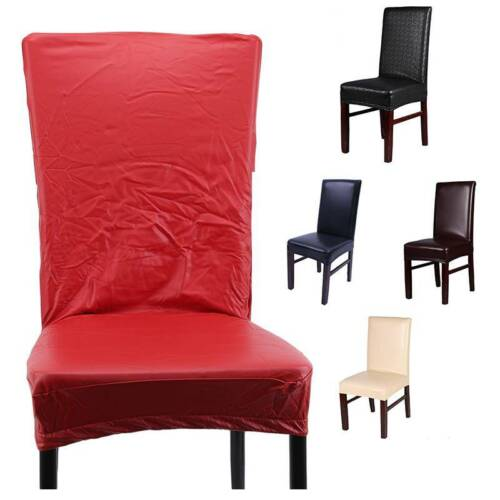 Faux PU Dining Chair Covers Slipcovers Wedding Banquet  Seat Cover Chair Cover