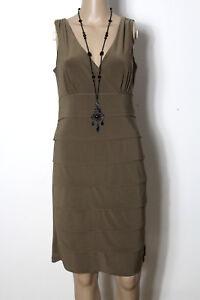 comma-Kleid-Gr-36-braun-knielang-Party-Strech-Traeger-Kleid