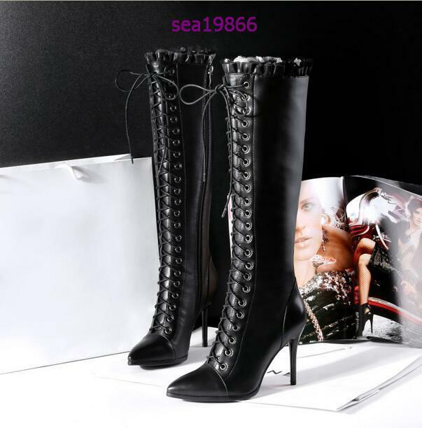 Fashion Over the the the Knee Knight High Heels pointed Lace up Genuine leather Boot e72477