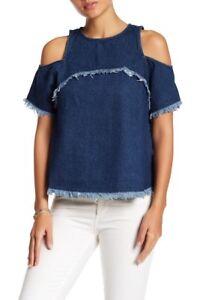 d99b58fb25a36 SUGAR LIPS XS Sugarlips Yani Denim Cold Shoulder Shirt jean top ...