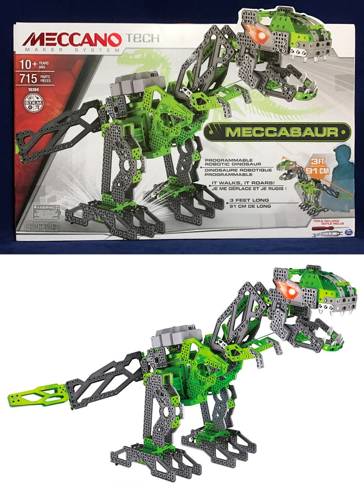New MECCASAUR Programmable Robotic DINOSAUR Meccano Tech INTERACTIVE