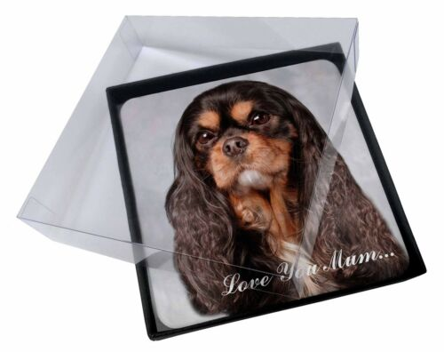 4x King Charles 'Love You Mum' Picture Table Coasters Set in Gift B, ADSKC2lymC