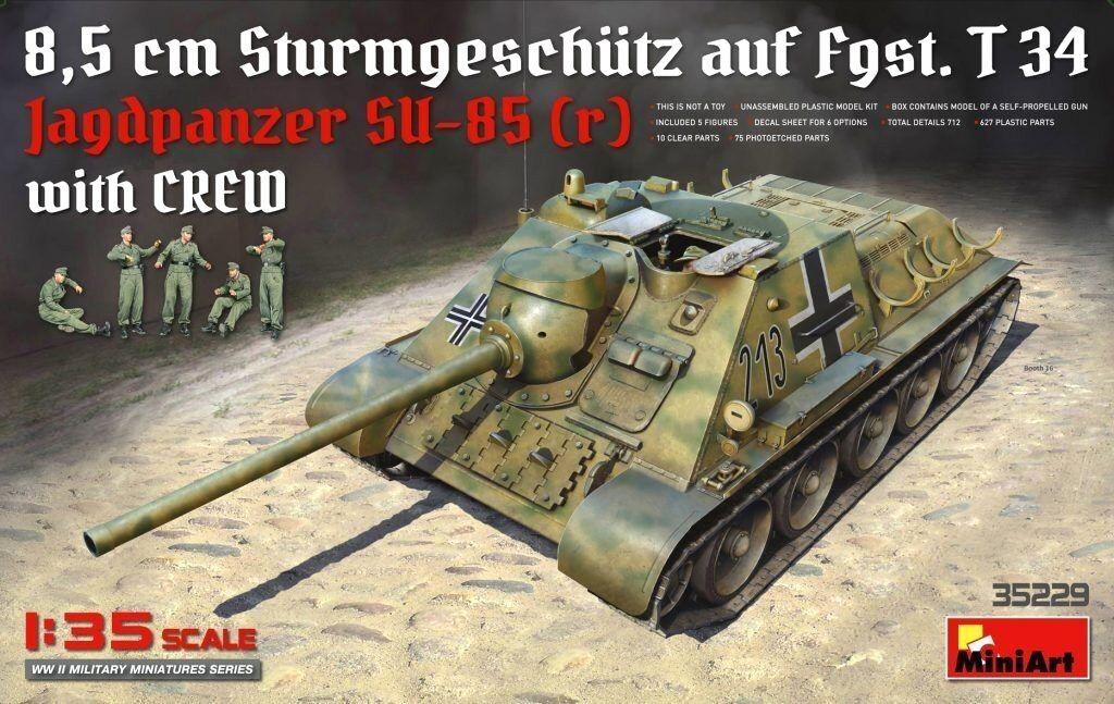 Miniart 1 35 Jagdpanzer SU-85 (r) 8.5 cm SPG Tank With Crew Figures Model Kit