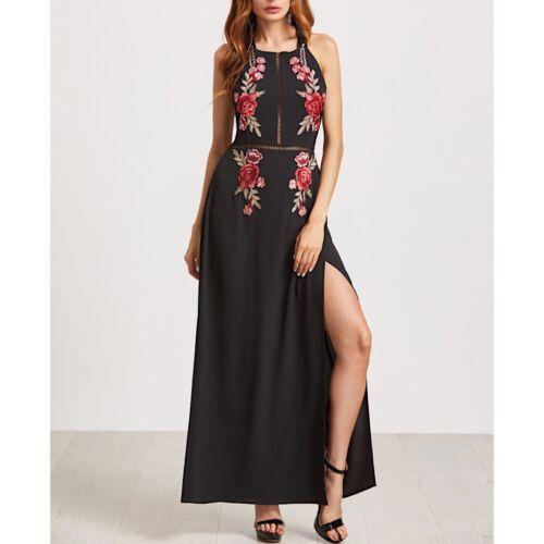 Longue P 110289 femme femme Maxi robe de roses de brodée pour roses robe d'été pour HqrHF