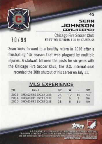 2016 Topps Major League Soccer Base Card Blue #/'d to //99 Variations #/'s 25-49