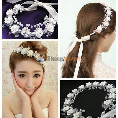 White Flowers Garland Crystal Bridal Wedding Hair Crown Tiara Headband Hairband