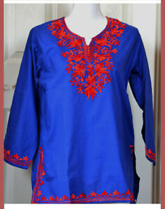 Red-Embroidered-Blue-Color-Cotton-Tunic-Top-Kurti-from-India-Large