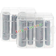 4x AA 3000mAh+ 4x AAA 1800mAh 1.2V NI-MH Rechargeable grey Battery +2x case