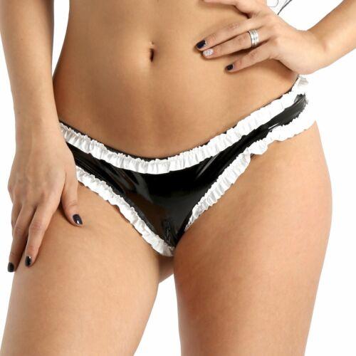 US Womens Wet Look Zipper Crotch High Cut Mini Briefs knickers Bikini Underwear