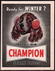 1949-ENGLISH-SPRINGER-SPANIEL-Art-Vintage-Champion-Spark-Plugs-Print-AD