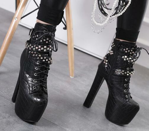 damen Gothic Gothic Gothic Round Toe High Block Heels Ankle Motorcycle Stiefel Lace Up schuhe F2 16932f